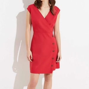 Loft Side Button Red Dress